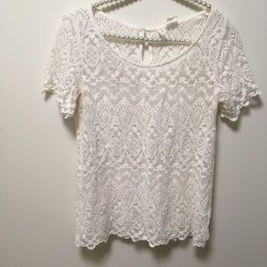 L.O.G.G. Short Sleeve Lacy Sheer Top Size 8